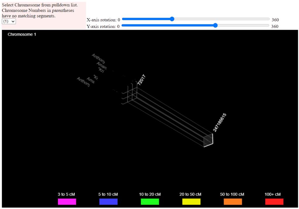 GEDmatch 3D chromosome browser 2