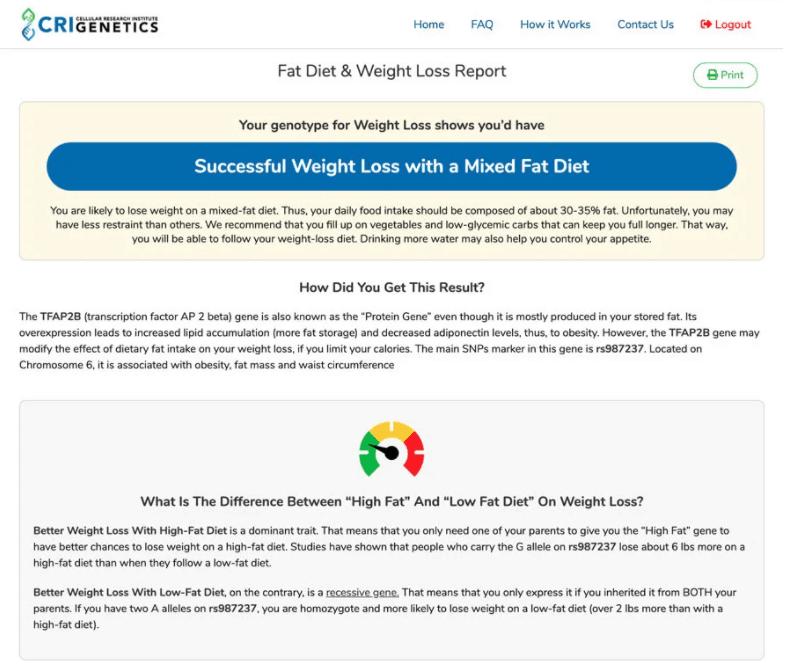 Cri genetics weight loss genetic test