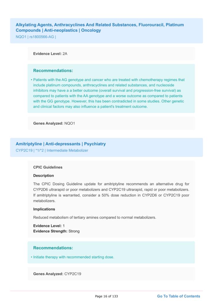 Personalized medicine report